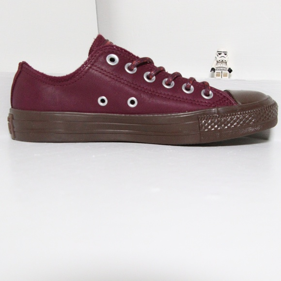 ccb22db89e0d New Burgundy Leather Converse All Star Low Top